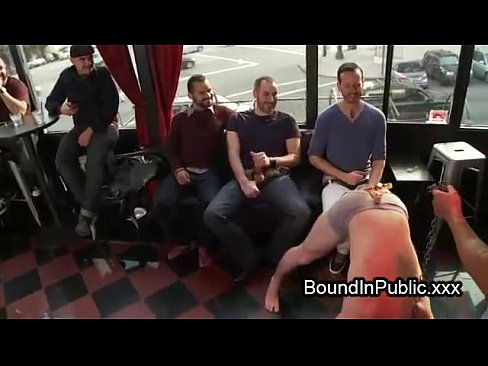 Chained gay ass licked and gangbang fucked in public